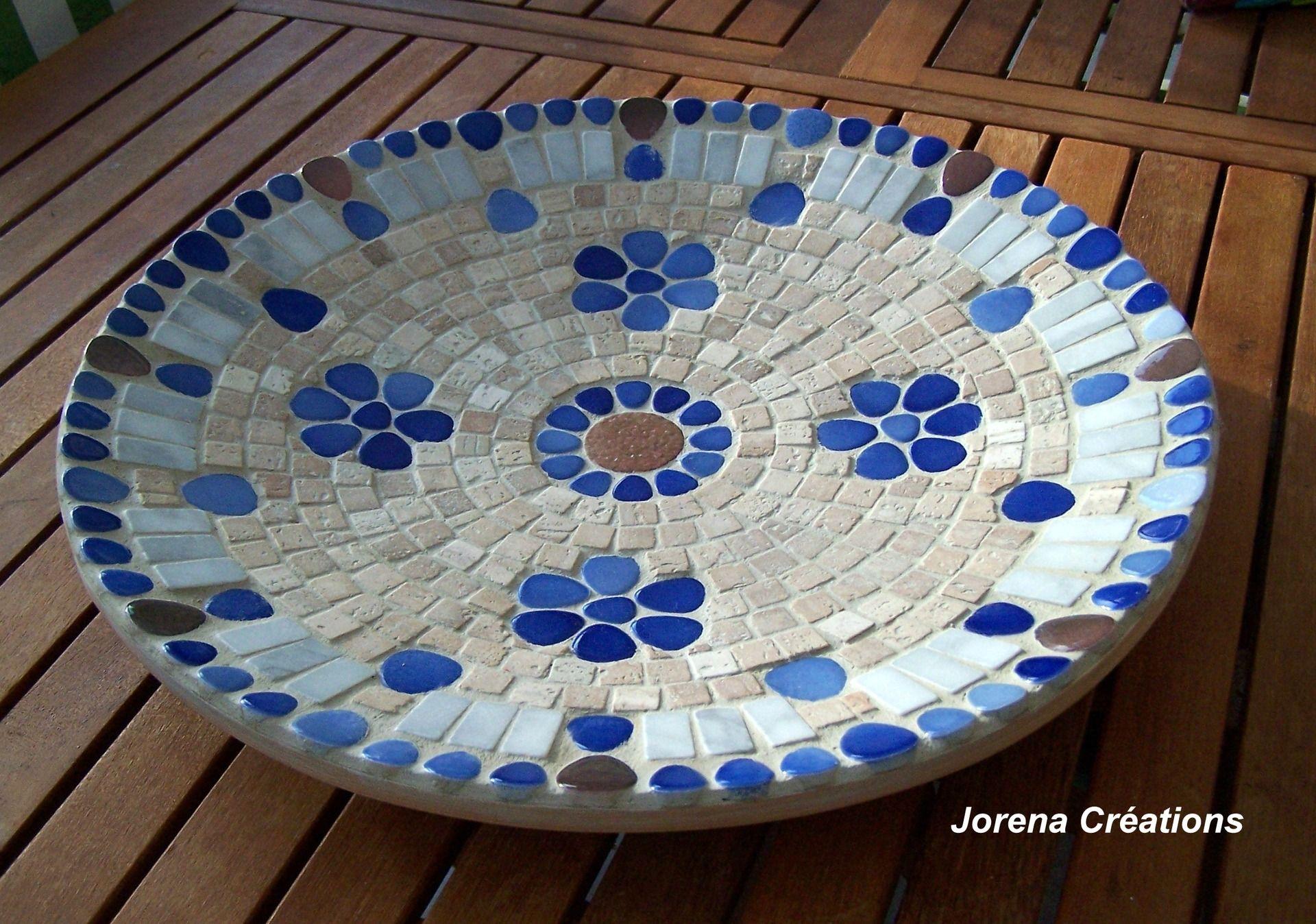 Grand Plat Mosaique Moderne Decor Fleurs En Pierre Et Galets
