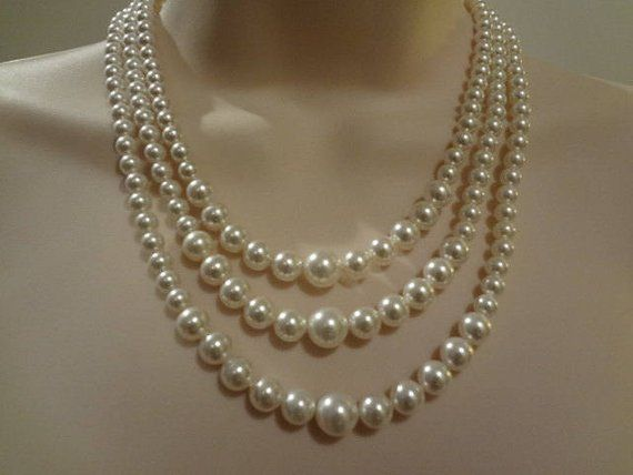 fe83b3cdaaf37 3 strand pearl necklace,Wedding Bridal Pearl Necklace Vintage Style ...