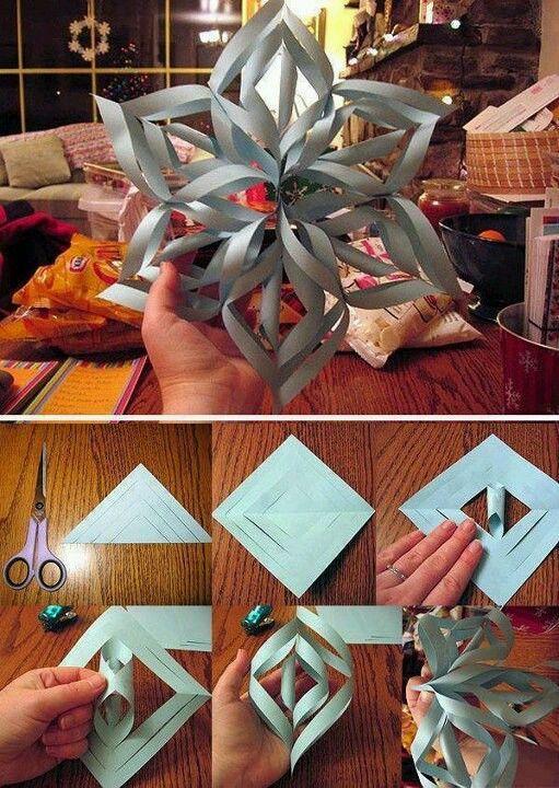 Machen Sie eine 3D-Papier-Schneeflocke - DIY Papier Blog #floconsdeneigeenpapier