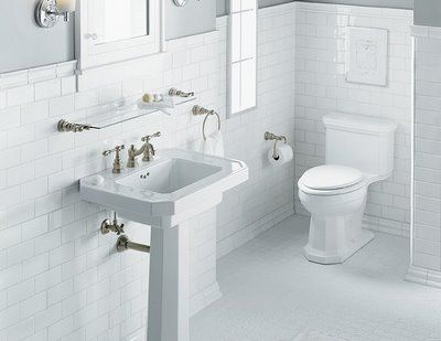 White Subway Tile Bathroom With Pedestal Sink Classic Design