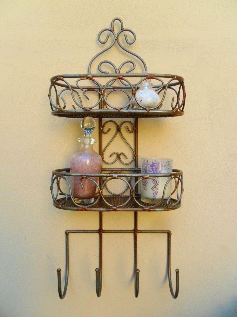 Repisa doble con percheros: Tienda Deco C | estanterías en hierro ...