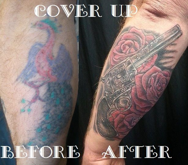 Old tattoo was lasered to lighten it and then tattooed over. | Laser ...