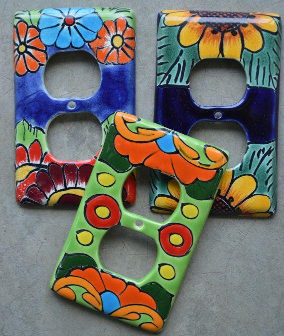 3 Talavera Mexican Pottery X 5 Light Single Switch Wall Plate Art