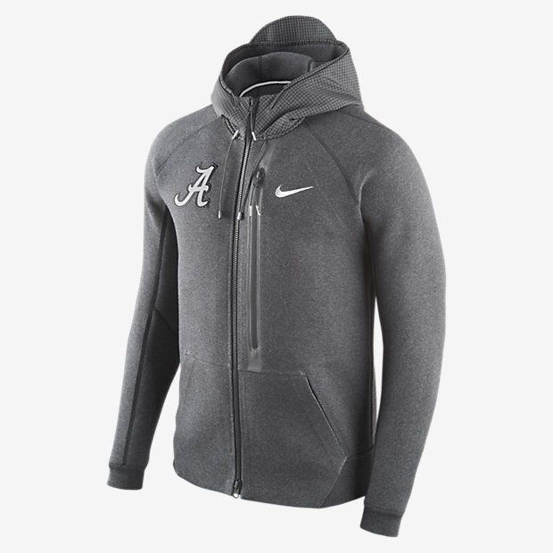 Mens Nike Diamond Quest Tech Fleece Full Zip Black Hoodie (Alabama)