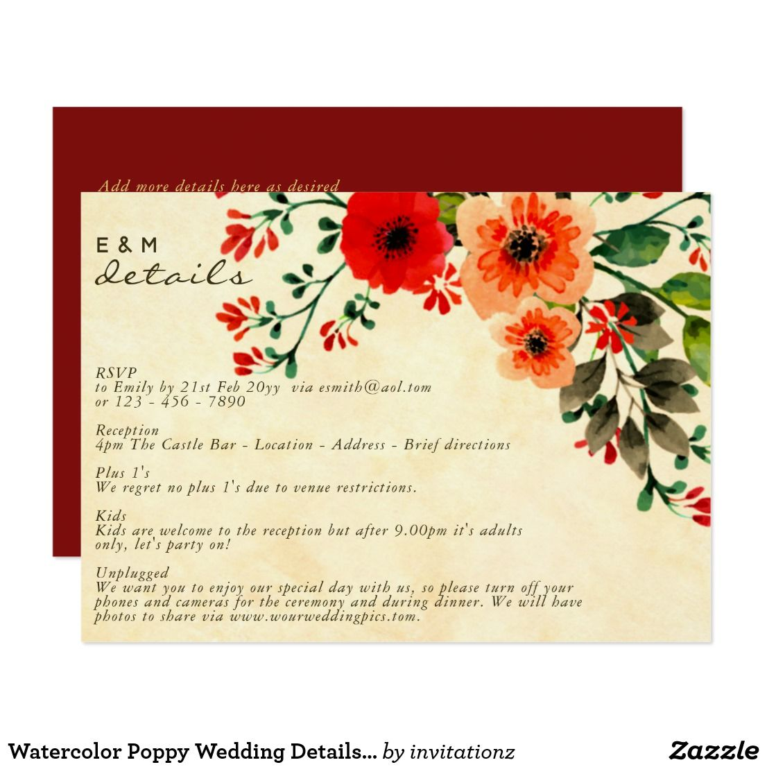 Watercolor Poppy Wedding Details Program Card | Watercolor poppies ...