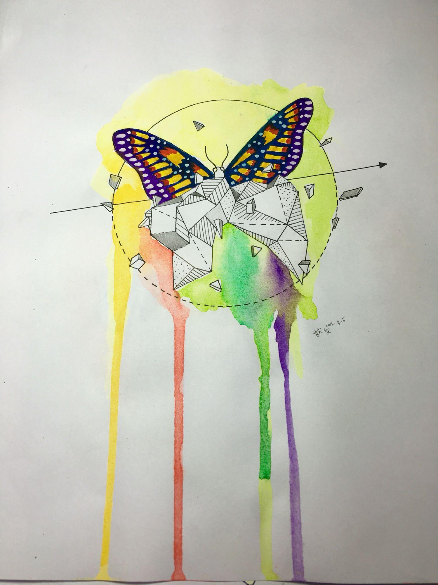 Butterfly Rainbow Little Tattoo Earth Watercolor Draw Geometric