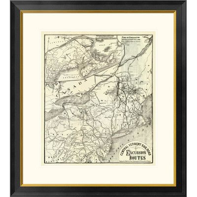 """Global Gallery Central Vermont. RR. excursion routes, 1879 Framed Graphic Art Size: 32"""" H x 29"""" W x 1.5"""" D"""