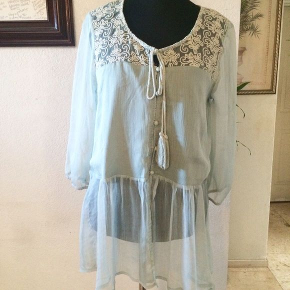 FIRM PRICEMint green boho chiffon tunic New with tags. Size Large Boutique Tops Tunics
