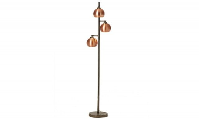 Buddy Floor Lamp Black Chrome With Copper Metal Shades Floor