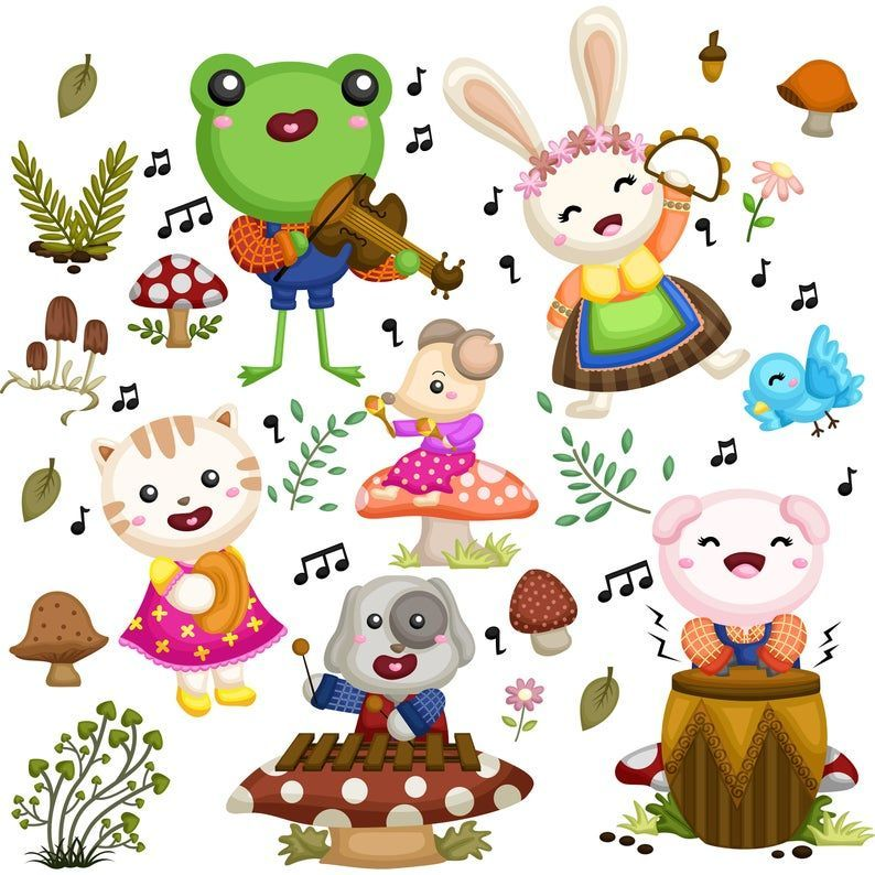 Animals Musicians Clipart Animal And Music Clipart Cute Animal Clipart Free Svg On Request Animal Clipart Free Cute Animal Clipart Clip Art