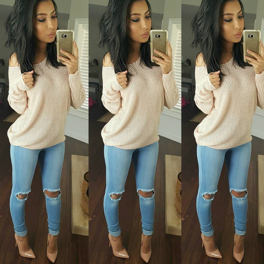 "Monica Serrato on Instagram: ""#simple #outfit Sweater Shop Priceless Jeans Fashion Nova code xomonicas Shoes @lolashoetiquedolls"""