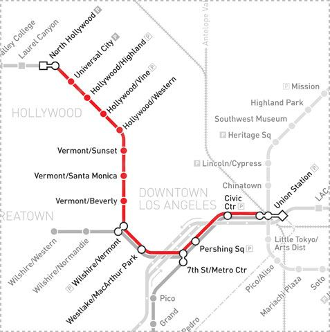 Red Line Los Angeles Subway Map.Metro Red Line Go Metro La Line Public Transport Transportation