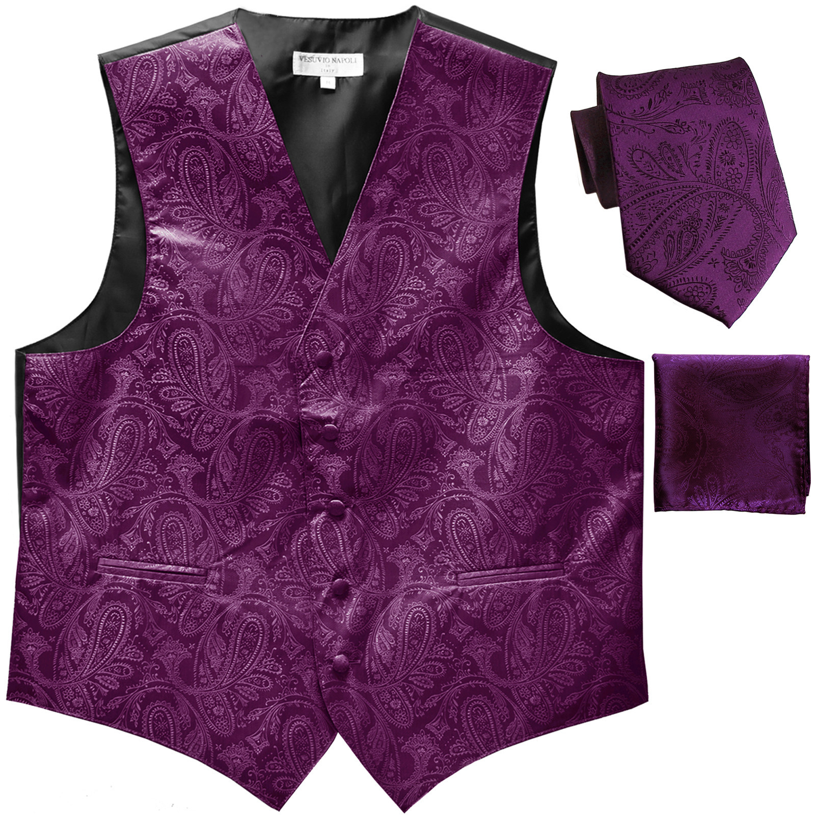 Men's Paisley Purple Polyester Tuxedo Vest with Self Tie Necktie, Pre-Tied Bowtie, and Handkerchief, for Formal Occasions
