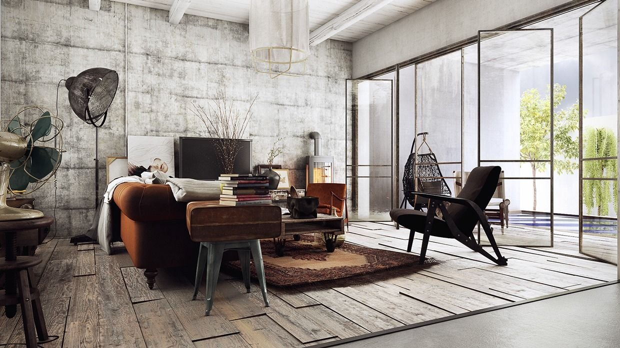 Strong industrial vibes in this interior interior design Rustic chic interior design