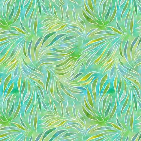 Palm Fronds in Watercolor  fabric by vo_aka_virginiao on Spoonflower - custom fabric