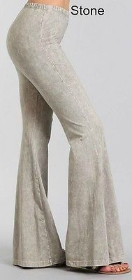 d3c18bee986 Black Stone Effect Hippie Boho Bell Bottom Flare Stretch Pants Soft Yoga S  M L