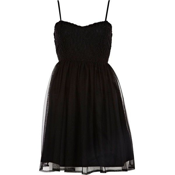 River Island Black lace and mesh strappy dress ($19) ❤ liked on Polyvore featuring dresses, vestidos, robes, short dresses, river island dresses, short lace dress, lace cocktail dresses and short mesh dress