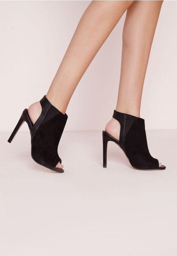 Peep Toe Faux Suede Boots Black - Footwear - Missguided
