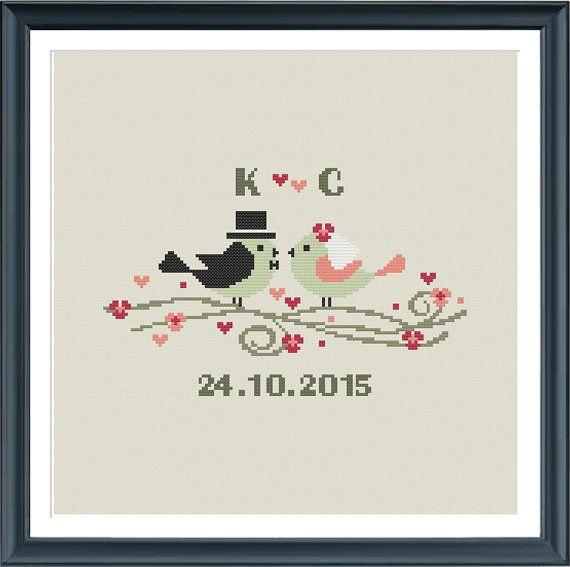 Modern Wedding cross stitch pattern, wedding birds, customizable ...