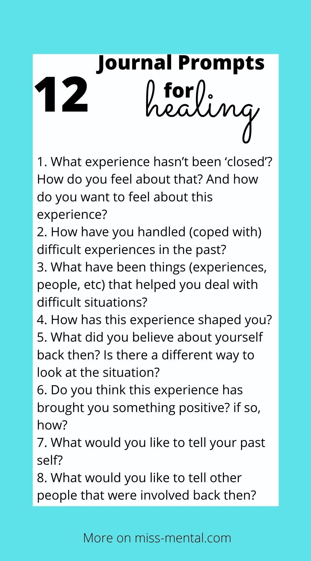 12 journal prompts for healing trauma now