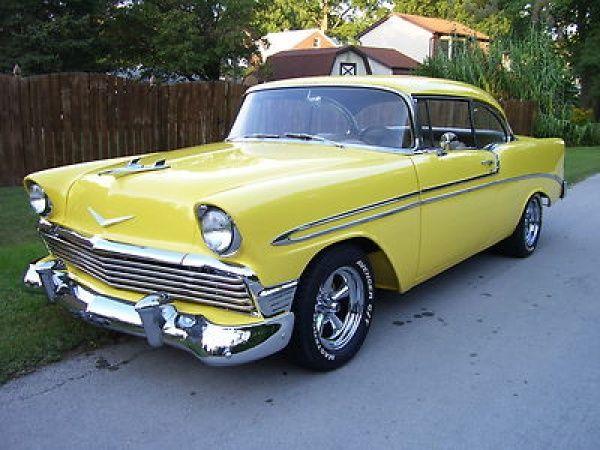 1956 Chevy Bel Air Yellow 2 Door Hardtop Hot Rod My Childhood Car