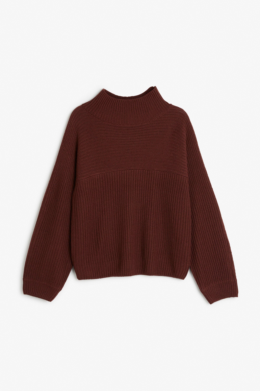 Monki Image 1 of Knit sweater in Red Bluish Dark