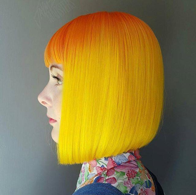 Neon Citrus Bob ... by #BTCONESHOT2016 Hair Awards Finalist @jaymz.marsters #behindthechair