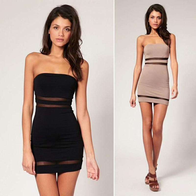 c9835e078ce1 Fashion Womens Summer Slim Strapless Short Tight Mini Dress Party Club dress