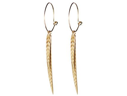 10K Gold Leaf Hoop Earrings Jewelry Pinterest