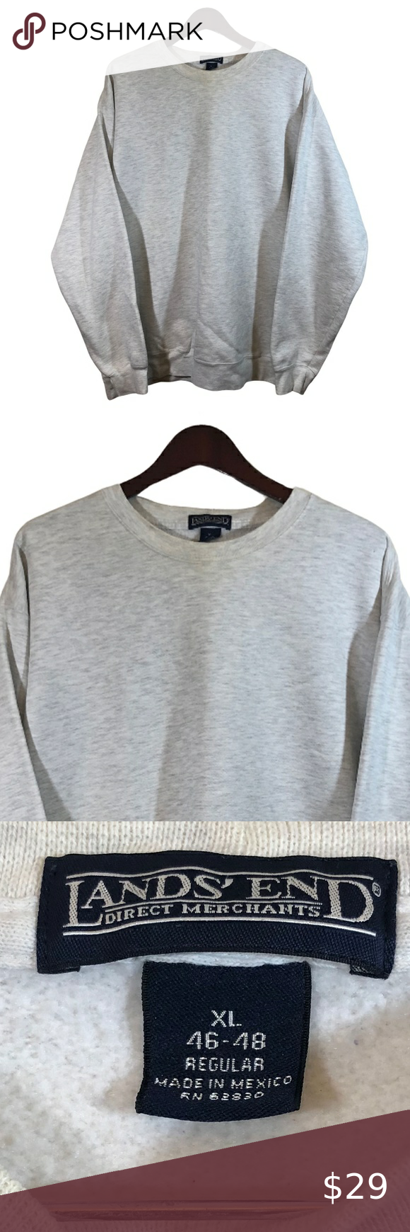 Lands End Gray White Crewneck Sweatshirt Size Xl White Crewneck Sweatshirt Crew Neck Sweatshirt Sweatshirts [ 1740 x 580 Pixel ]