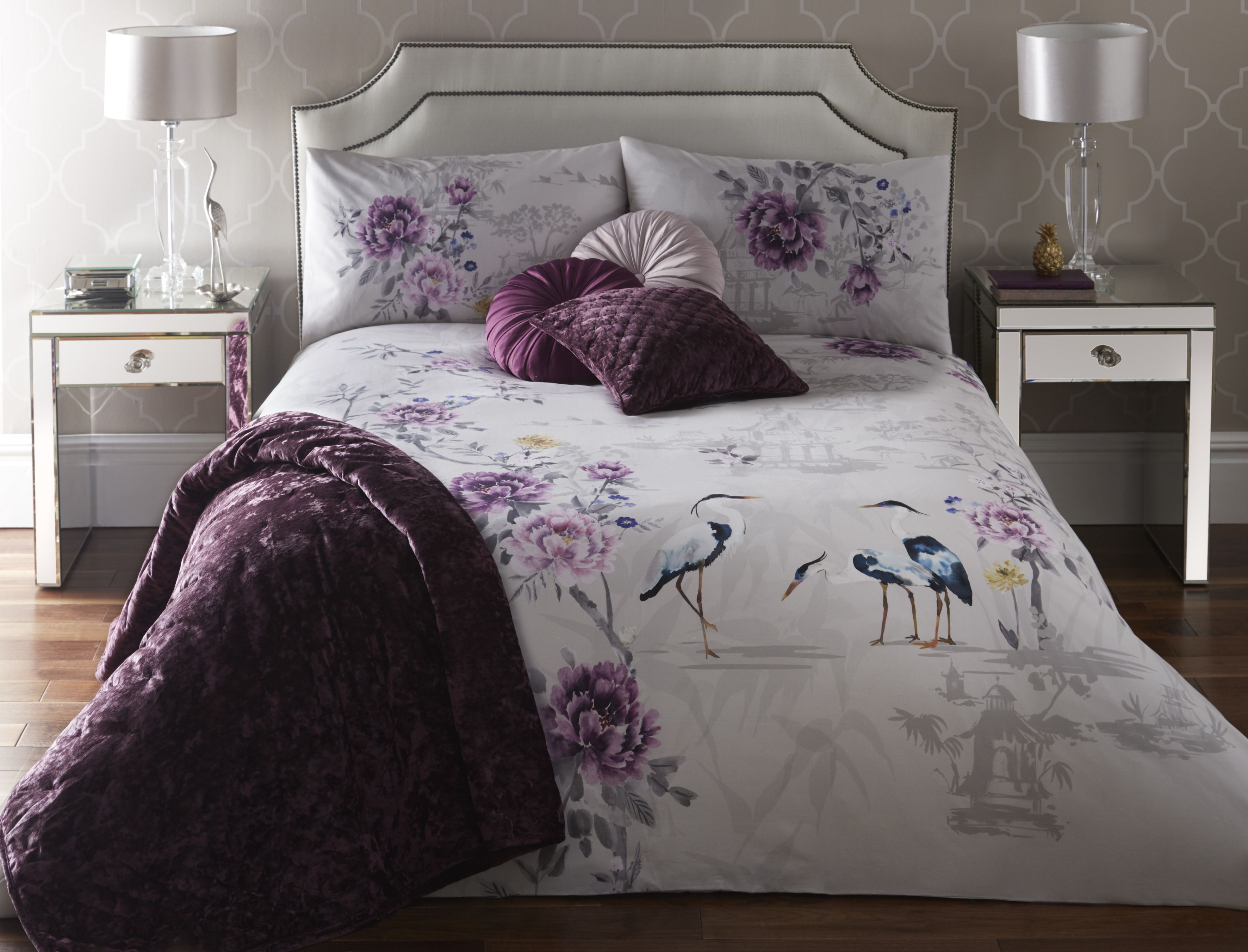 Best Appletree Kumiko Plum Bedding With Plum Kori Throw Soft 400 x 300