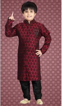 b39a9ee239e83 Red Color Jacquard Readymade Boys Kurta Pajama Set | FH508677479 ...
