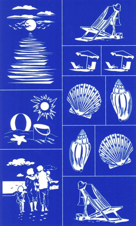 rub n etch stencil beach designs nautical glass. Black Bedroom Furniture Sets. Home Design Ideas