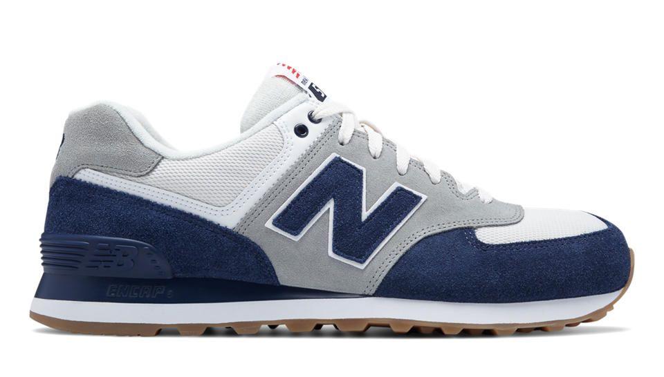 New Balance Men's 574 Resort Sport Lifestyle Fashion Sneaker, Electric Blue/ Silver Mink, 11 D US