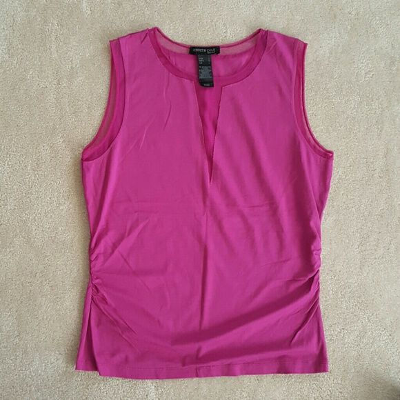 Kenneth Cole new york tank top Like new condition/96% rayon 4%spandex/ruched sides/machine wash/sheer v neck and sheer lining at sleeves/hits at the hip Kenneth Cole Tops