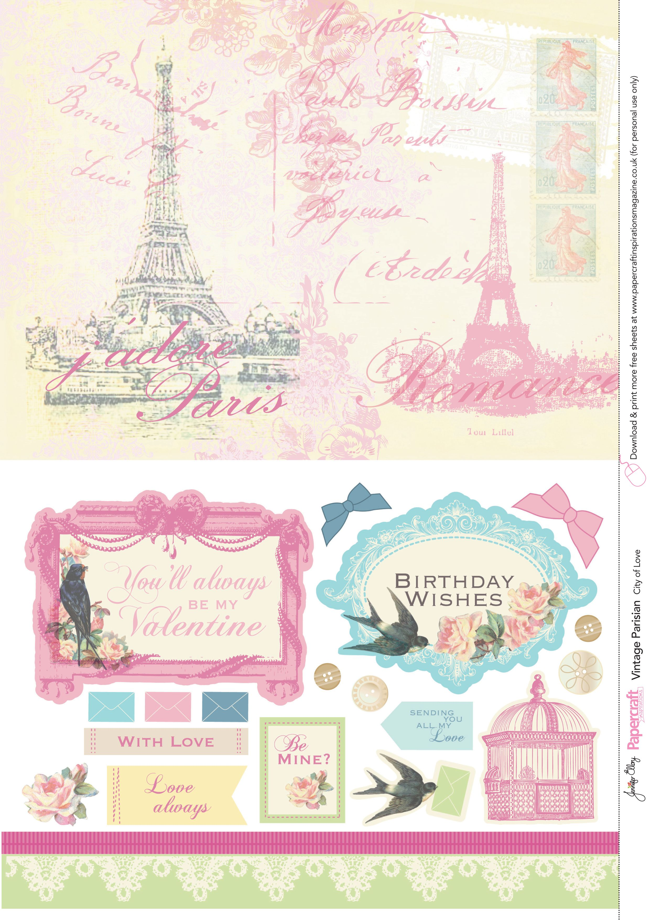 Paris printables background patterns and embellishments for
