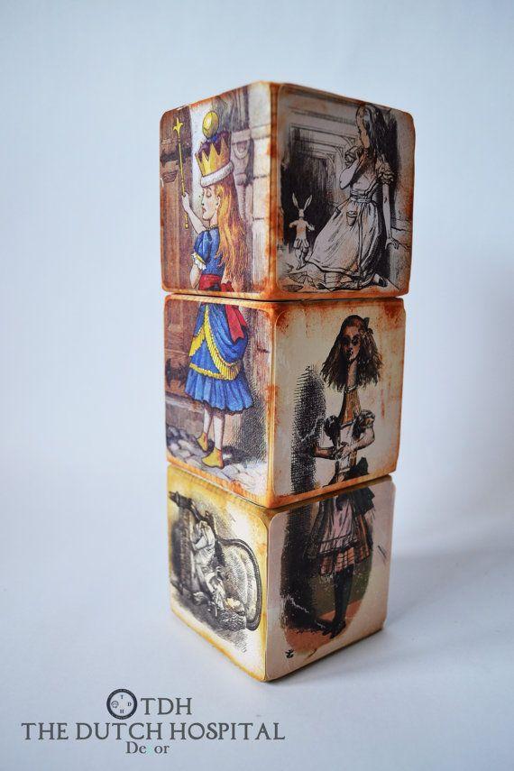 Alice In Wonderland Wooden Blocks – Custom Wooden Block Nursery  Décor– Vintage aged Block – Classic Victorian Story book Block SET OF 3