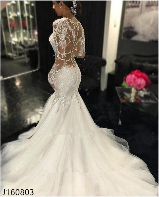 2017 Sexy Ivory Mermaid Bridal Gowns Wedding Dresses Lace Appliques Custom made