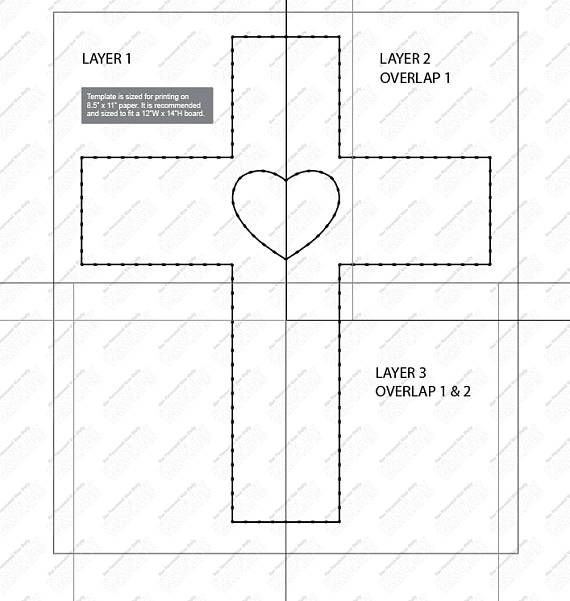 This template is meant for a board sized at 12w x 14 h. Template can be taped and centered on board. Nail through the paper and rip paper out when finished! Digital download provides one multi page PDF with template. Secondary download provides both template and stringing
