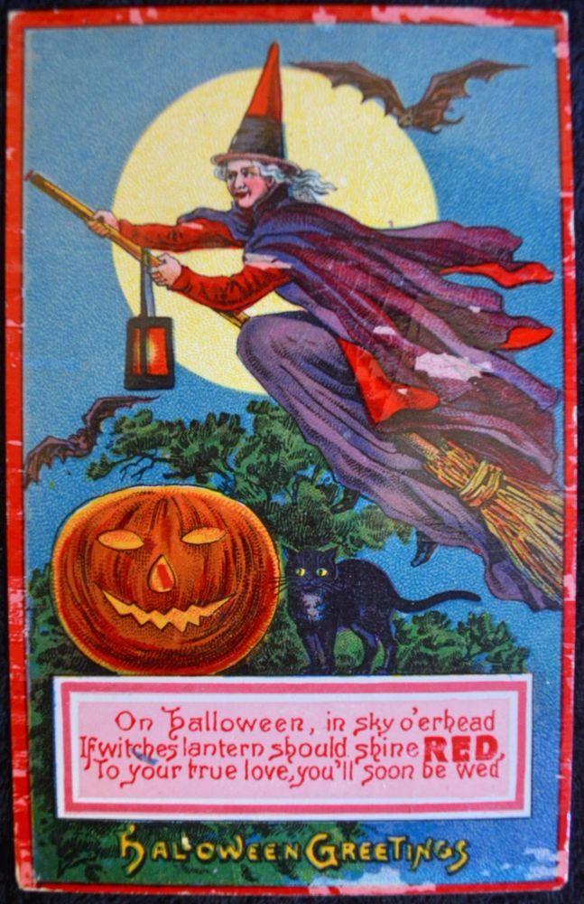 1912 GLOSSY HALLOWEEN German Postcard SCARY WITCH BATS BLACK CAT JACK O' LANTERN