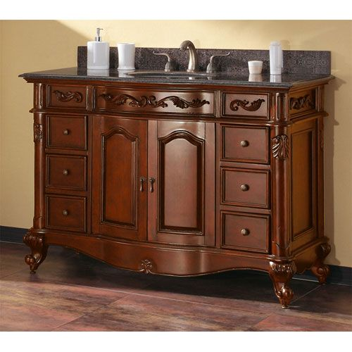 Avanity Provence 48-Inch Antique Cherry Vanity with Imperial Brown
