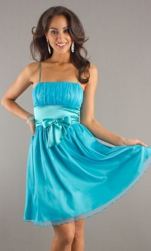 Blue Empire Knee-length Empire Sashes/Ribbons Baby Homecoming Dress HD2F2C