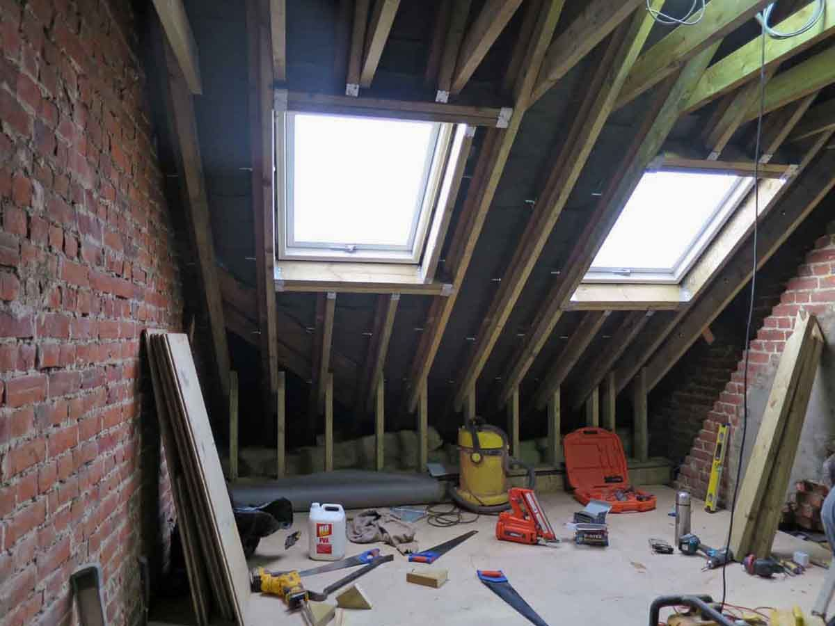 Typically Existing Rafters Are Insufficient And New Ones Are Bolted To  Existing Ones. Studs Are