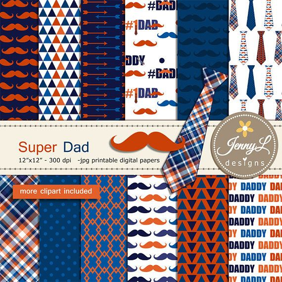 Father's Day Digital Papers and Clipart SET mustache