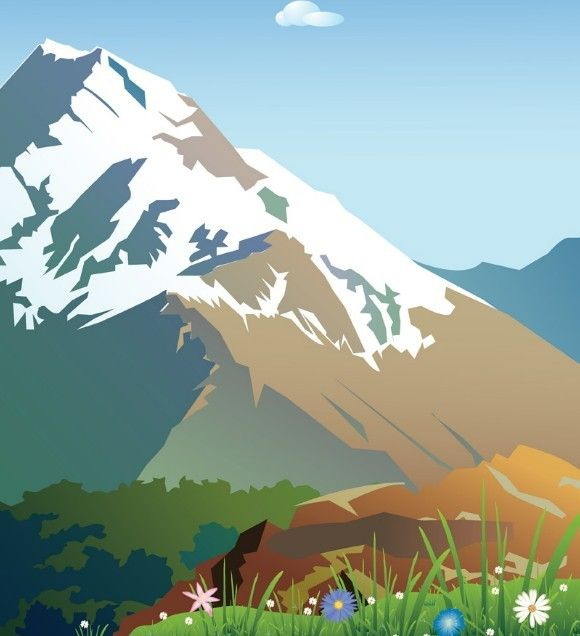 Forests And Snow Capped Mountains Illustration Vector 03 Mountain Illustration Mountain Drawing Mountains