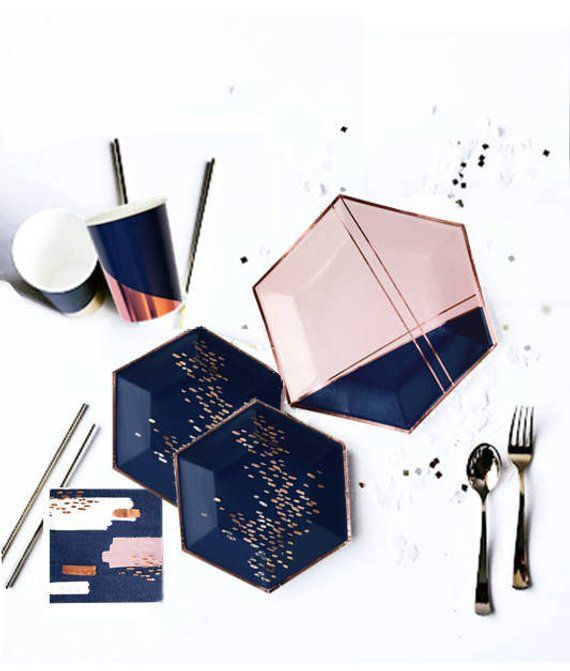 Large Navy And Rose Gold Plates Colorblock Navy Blush Hexagonal