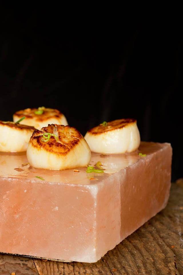 Salt Crust Scallops With Thai Lime Dipping Sauce Salt Block Recipes Himalayan Salt Block Recipes Salt Block Cooking