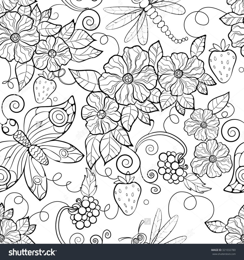 Flower coloring pages for adults - Coloring Pages Enchanting Flowers Coloring Pages For Adults Butterfly Pattern Flowers Coloring Pages For Adults