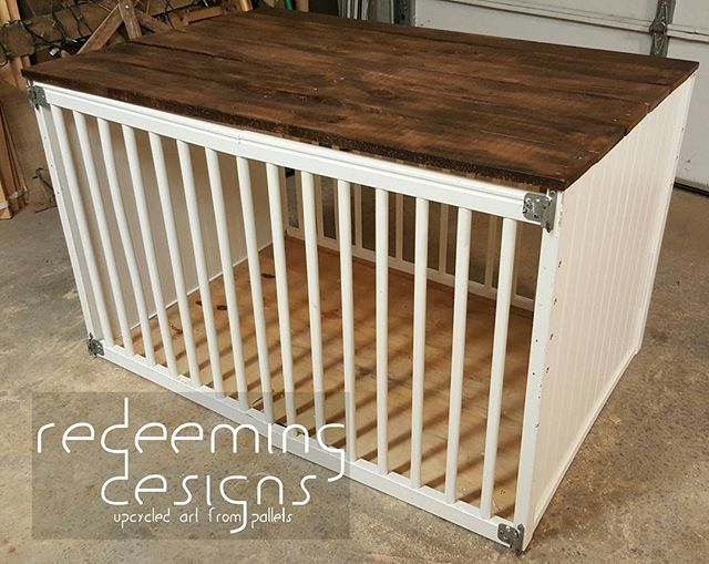 Upcycled Baby Crib To A Dog Crate Added A Pallet Wood Top And