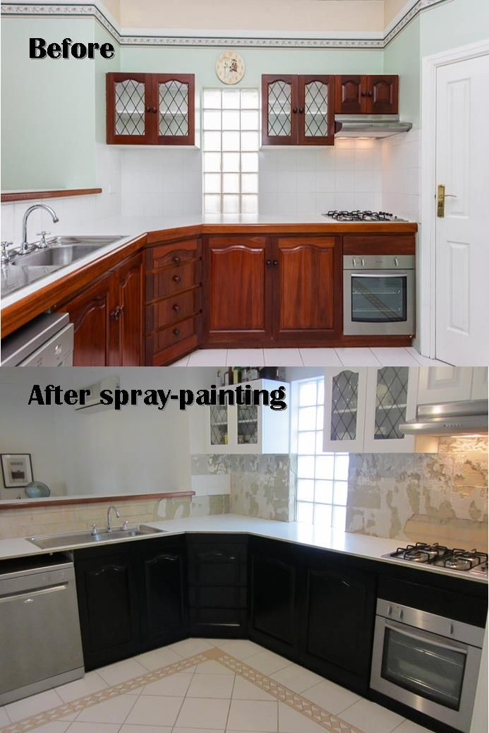 Spray Painted Black And White Kitchen From Thevintagemodernhome.com. Painted  Wood Cabinets. Timber